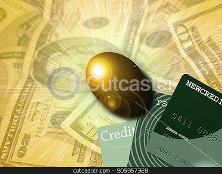 Golden egg stock photo, Golden egg, cash and credit cards. 3D rendering. by Bruce Rolff