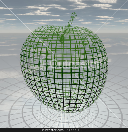 Apple stock photo, 3D rendered Apple. Cloudy sky by Bruce Rolff