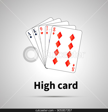 High card poker combination on gray stock vector clipart, High card poker combination with shadow on gray by Evgeny