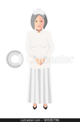 Old nurse in white medical robe, flat character on white stock vector clipart, Old nurse in white medical robe, flat character isolated on white by Evgeny
