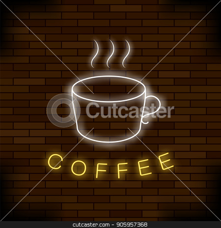 Colored Neon Coffee Cup. Night City Banner stock vector clipart, Colored Neon Coffee Cup on Red Brick Background. Night City Banner by valeo5