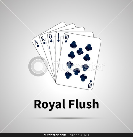 Royal Flush poker combination on gray stock vector clipart, Royal Flush poker combination with shadow on gray by Evgeny