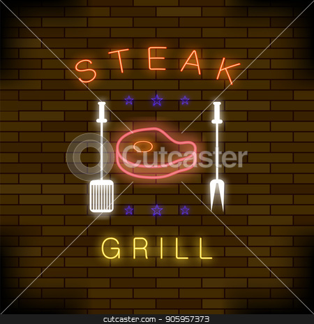 Steak Grill Neon Colorful Sign stock vector clipart, Steak Grill Neon Colorful Sign on Dark Brick Background by valeo5
