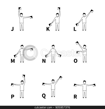Semaphore signs alphabet, black latin letters on white stock vector clipart, Semaphore signs alphabet, black latin letters isolated on white by Evgeny