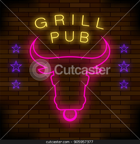 Grill Pub Neon Colorful Sign stock vector clipart, Grill Pub Neon Colorful Sign on Dark Brick Background. Night City Banner by valeo5