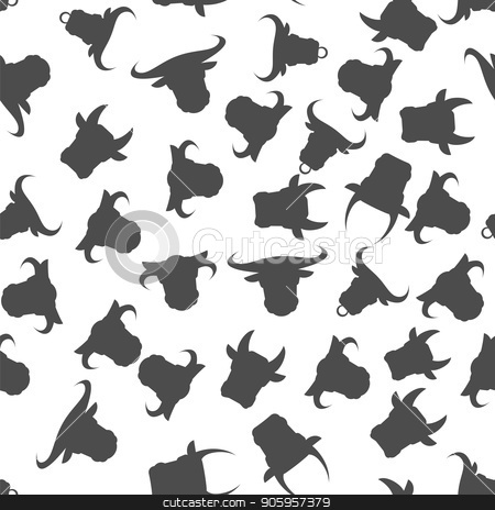Head of Bull Seamless Pattern stock vector clipart, Head of Bull Seamless Pattern on White Background by valeo5