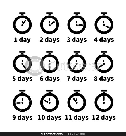 Set of clock faces with different days values, simple black timers icons on white stock vector clipart, Set of clock faces with different days values, simple black timers icons isolated on white by Evgeny
