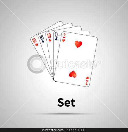Set poker combination with shadow stock vector clipart, Set poker combination with shadow on gray by Evgeny