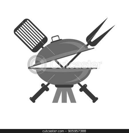Barbeque Grey Icon stock vector clipart, Barbeque Grey Icon Isolated on White Background by valeo5