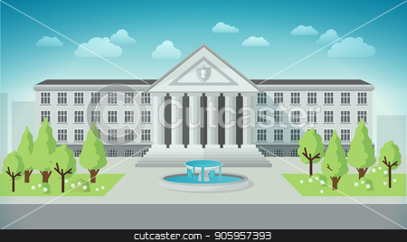 Front view of university or government building in flat style. stock vector clipart, Front view of university or government building in flat style by MarySan