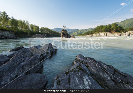 Fast mountain river Katun stock photo, Fast mountain river Katun in Altay, Siberia, Russia. A popular tourist place called the Dragon's Teeth by olinchuk