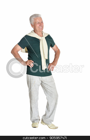 happy senior man in shirt stock photo, senior man in green shirt posing on white background by Ruslan Huzau