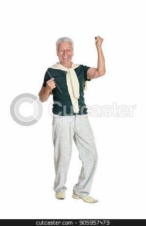 happy senior man in shirt stock photo, Successful senior man in green shirt on white background by Ruslan Huzau