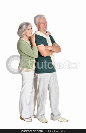 portrait of  senior couple embracing  isolated stock photo, Full length portrait of  senior couple embracing  isolated on white background by Ruslan Huzau