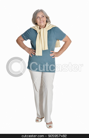 happy senior woman  posing stock photo, full length, happy senior woman  posing,  isolated on white by Ruslan Huzau