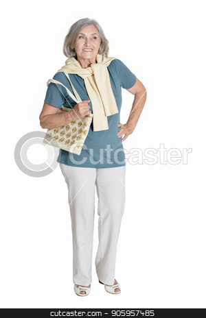 happy senior woman  posing stock photo, full length, happy senior woman  posing,  isolated on white by Ruslan Huzau