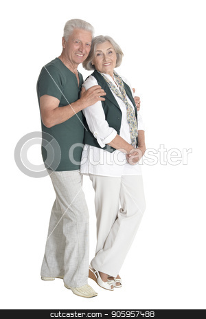 portrait of happy  senior couple embracing  isolated stock photo, Full length portrait of happy  senior couple embracing  isolated on white background by Ruslan Huzau