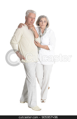 portrait of  senior couple hugging stock photo, portrait of  senior couple hugging  isolated on white background, full length by Ruslan Huzau