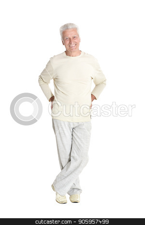 portrait of senior man  posing stock photo, portrait of senior man  posing isolated on white background, full length by Ruslan Huzau