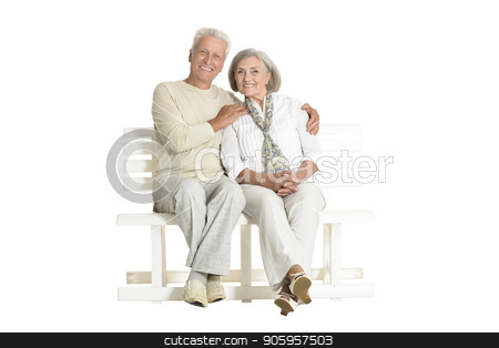 portrait of  senior couple sitting on bench stock photo, portrait of  senior couple sitting on bench  isolated on white background, full length by Ruslan Huzau