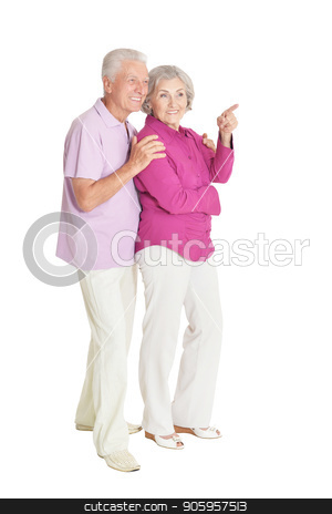 portrait of  senior couple pointing  stock photo, portrait of  senior couple pointing   isolated on white background by Ruslan Huzau