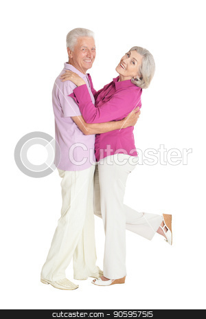 portrait of  senior couple dancing stock photo, portrait of  senior couple dancing   isolated on white background by Ruslan Huzau