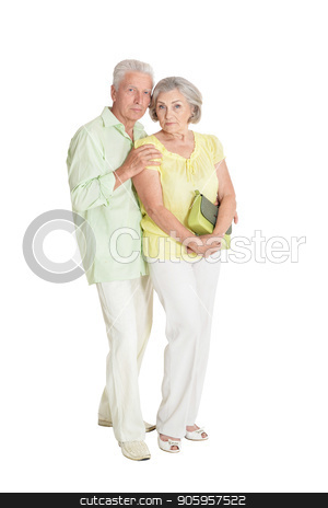 senior couple posing stock photo, portrait of  senior couple posing  isolated on white background by Ruslan Huzau