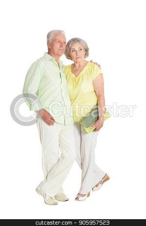 senior couple posing stock photo, portrait of  senior couple posing  isolated on white background by Ruslan Huzau