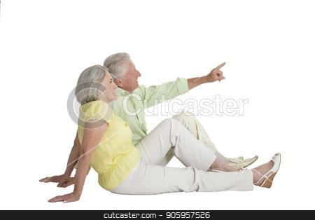 portrait of  senior couple pointing something stock photo, Full length portrait of  senior couple pointing something   isolated on white background by Ruslan Huzau