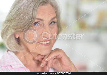 portrait of happy senior woman  stock photo, close up portrait of happy senior woman  at home by Ruslan Huzau