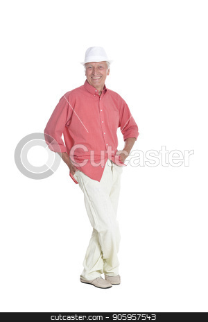 portrait of senior man  posing stock photo, Full length portrait of senior man  posing isolated on white background by Ruslan Huzau