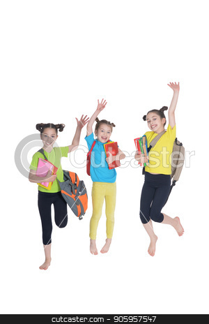 portrait of cute little girls posing stock photo, portrait of cute little schoolgirls with books and backpacks posing in studio by Ruslan Huzau