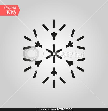 Snowflake icon. Christmas and winter theme. Simple flat black illustration on white background. stock vector clipart, Snowflake icon. Christmas and winter theme. Simple flat black illustration on white background. eps 10 by elnurbabayev
