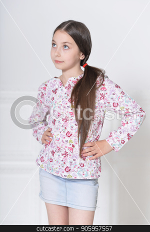cute little girl posing stock photo, portrait of cute little girl posing in studio by Ruslan Huzau