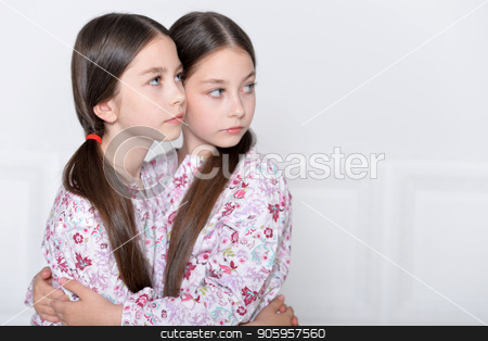 cute little girls posing  stock photo, Studio portrait of cute  twin sisters posing by Ruslan Huzau
