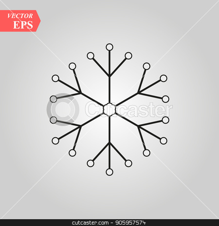 Snowflake icon. Christmas and winter theme. Simple flat black illustration on white background. eps 10 stock vector clipart, Snowflake icon. Christmas and winter theme. Simple flat black illustration on white background. eps10 by elnurbabayev