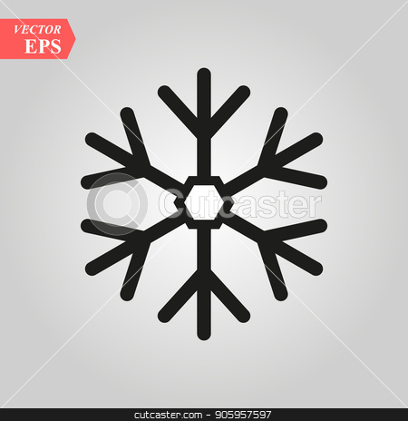 Snowflake icon. Black silhouette snow flake sign, isolated on white background. Flat design. Symbol of winter, frozen, Christmas, New Year holiday. Graphic element decoration. Vector illustration stock vector clipart, Snowflake icon. Black silhouette snow flake sign, isolated on white background. Flat design. Symbol of winter, frozen, Christmas, New Year holiday. Graphic element decoration. Vector illustration eps 10 by elnurbabayev