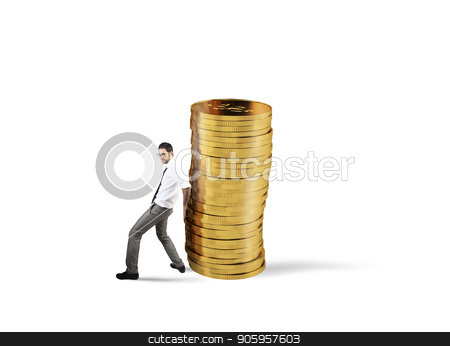 Businessman moves a pile of coins. concept of difficulty to saving money stock photo, Businessman moves a pile of golden coins. concept of difficulty to saving money by Federico Caputo