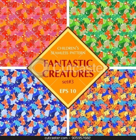 Set of bright background with fantastic creatures. stock vector clipart, Set of bright background with fantastic creatures. Seamless pattern with fantazy animals. olored set of repeating pattern for the background of packaging paper, textiles, websites, wallpaper and other by Heliburcka