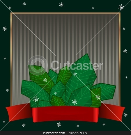 Christmas candy canes. Elegant strict dark green background with gold frame for text on winter theme. stock vector clipart, Striped dark green background with a ribbon with a bow, with spruce branches and snowflake. Elegant night strict background with gold frame for text on winter theme. Can be used for invitations by Heliburcka