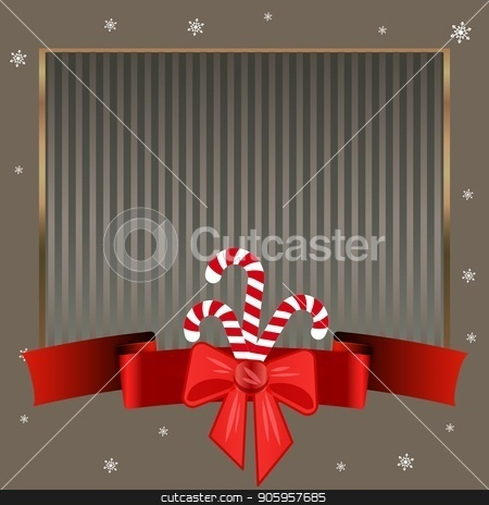 Christmas candy canes. Elegant strict silver background with gold frame for text on winter theme. stock vector clipart, Striped silver background with a red ribbon with a bow, snowflakes and sweet Christmas candy canes. Elegant strict background with gold frame for text on winter theme. Can be used for invitations by Heliburcka