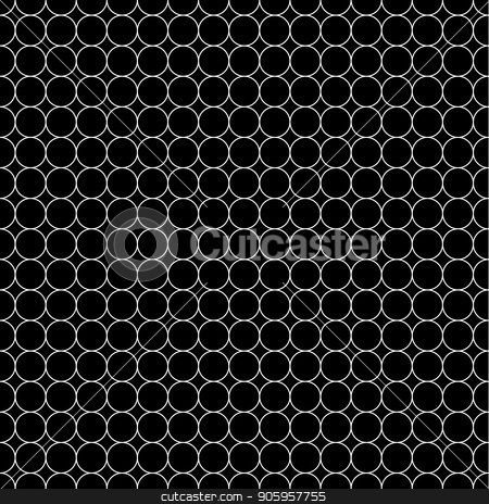 White grid made up of five millimeters circles, seamless pattern stock vector clipart, White grid made up of five millimeters circles on black, seamless pattern by Evgeny