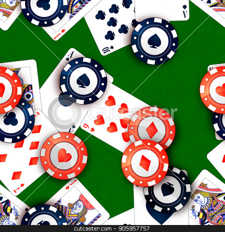 Casino chips and poker cards on green table, seamless pattern stock vector clipart, Bright casino chips and poker cards on green table, seamless pattern by Evgeny