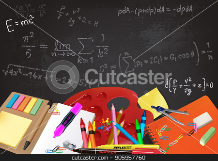 Background Back to School  stock vector clipart, Background Back to School with Aids and Equations Written on the Chalkboard - Detailed Illustration, Vector by derocz