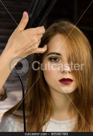 Hairdresser does hairstyle for young woman to weave braids. Concept beauty and wedding stock photo, Hairdresser does hairstyle for young woman to weave braids. Concept beauty and wedding. by Alexander