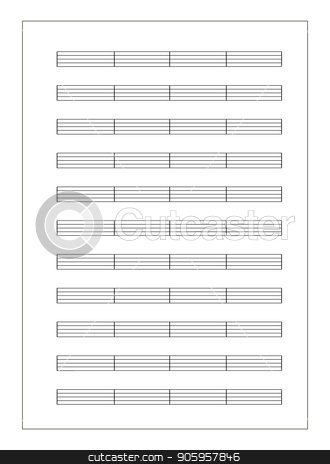 Music sheet a4 format with note staves isolated on white stock vector clipart, White music sheet a4 format with note staves isolated on white by Evgeny