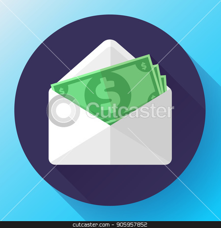 Salary in envelope. Salary increase, money payroll, compensation income, vector salary survey illustration. stock vector clipart, Salary in envelope. Salary increase, money payroll, compensation income, vector salary survey illustration by MarySan
