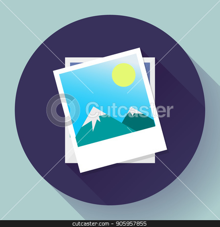 Two photos icon vector - symbol of the photographer. stock vector clipart, Two photos icon vector - symbol of the photographer by MarySan