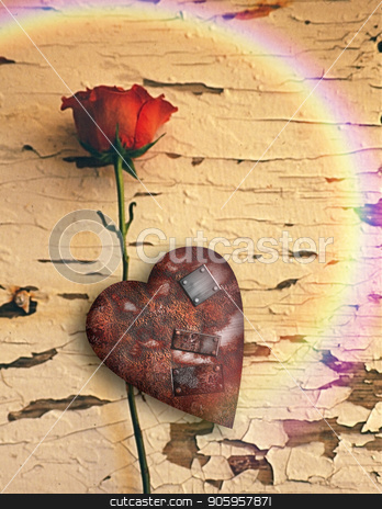 Rusted love stock photo, Surrealism. Red rose and rusted heart with metal patches. Rainbow. by Bruce Rolff