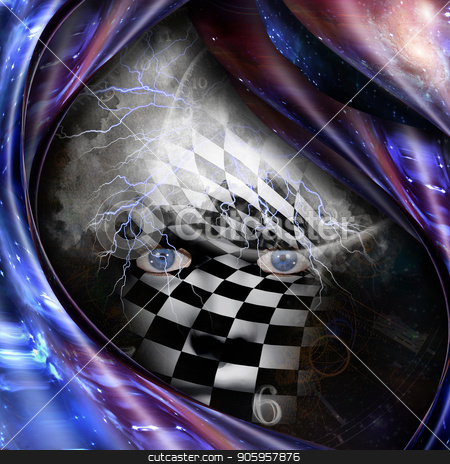 Face of God stock photo, Surrealism and symbolism. Time spirals and checkered face. 3D rendering by Bruce Rolff